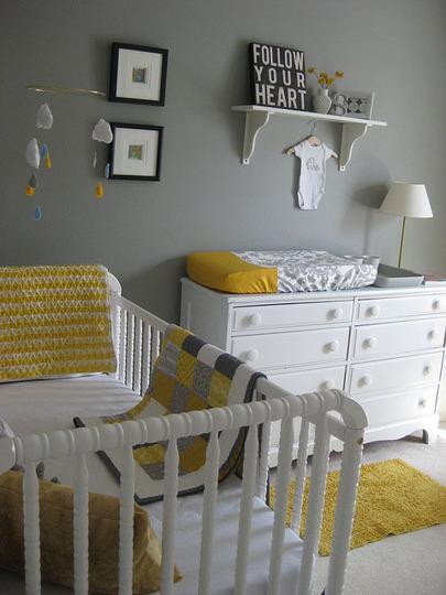 Chambre bebe gris jaune bleu - Famille et bébé