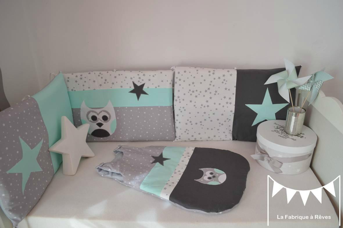Chambre bebe vert gris blanc
