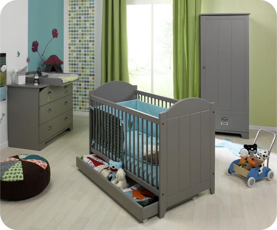 Chambre bebe meuble gris