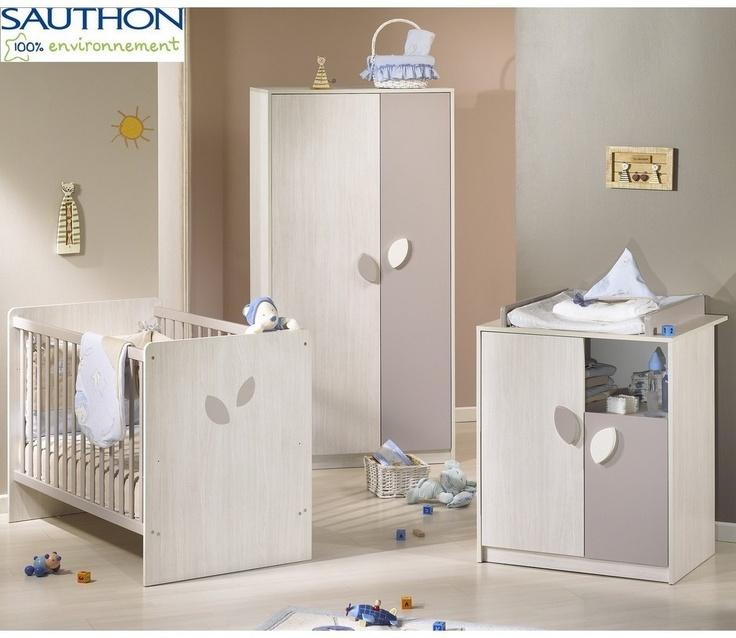 Chambre bébé trio leaf gris blanc