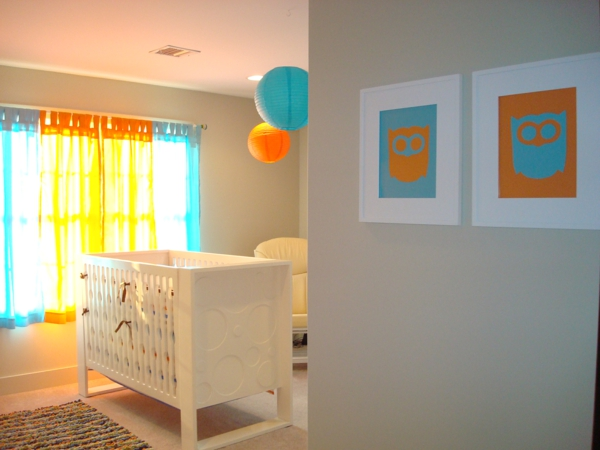 De Haute Qualite Chambre Bebe Gris Orange