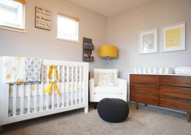 Chambre bebe gris jaune blanc - Famille et bébé