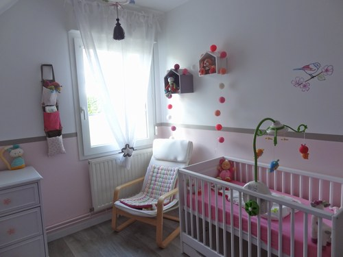 Chambre bébé fille taupe et rose - Famille et bébé
