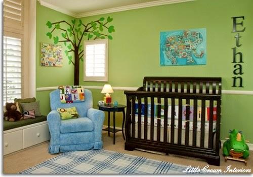 Décoration chambre bébé bleu vert - Famille et bébé