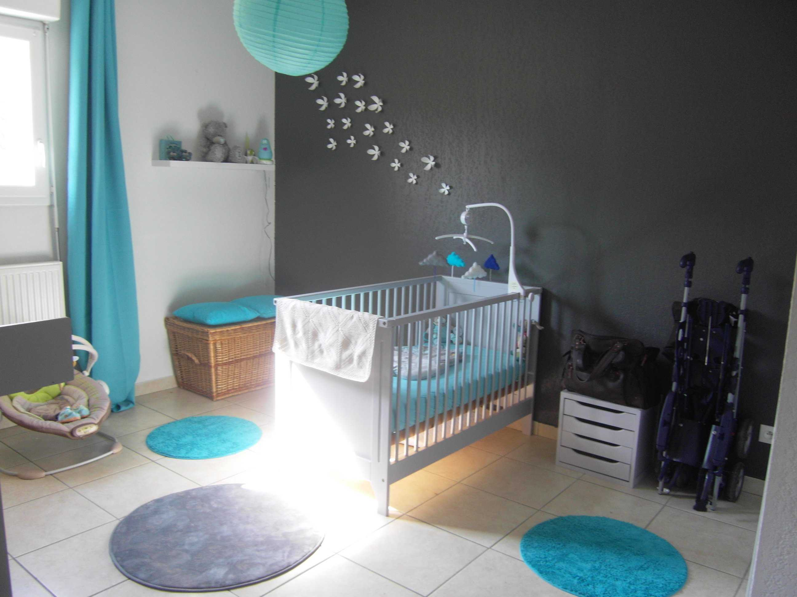 Chambre bébé gris et turquoise - Famille et bébé