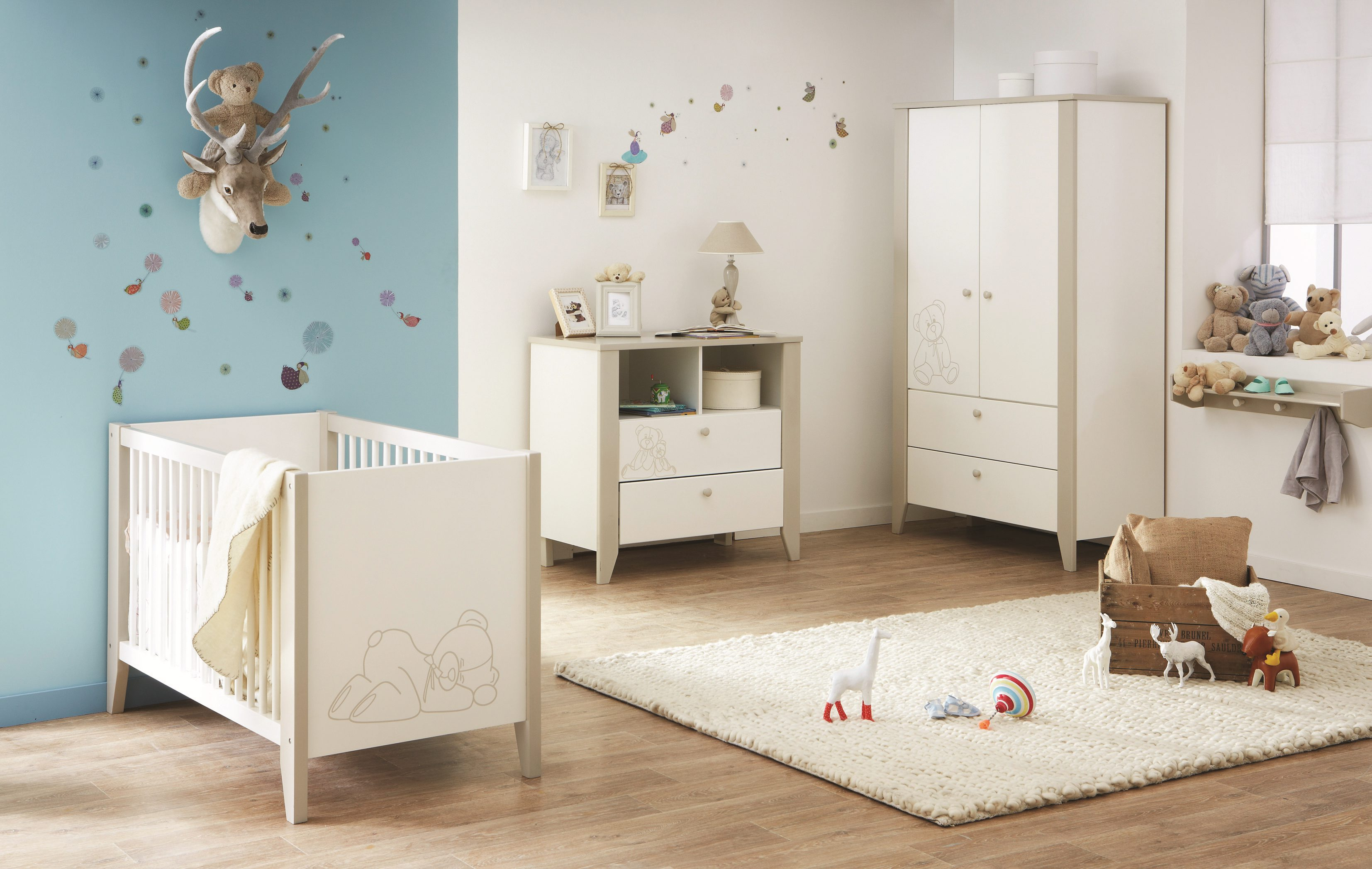 Couleur chambre b b gris bleu famille et b b - Moquette pour chambre bebe ...