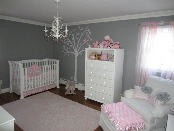 Chambre bebe gris et rose pale - Famille et bébé