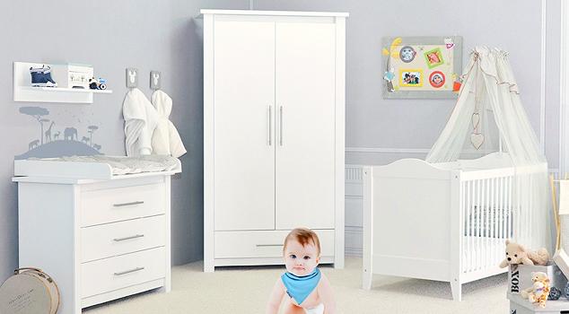 Chambre bebe blanc gris bleu famille et b b - Chambre bebe gris blanc ...
