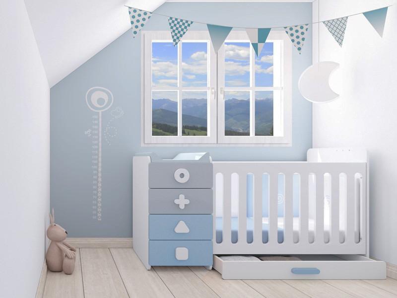 Lit bebe bleu et blanc - Famille et bébé