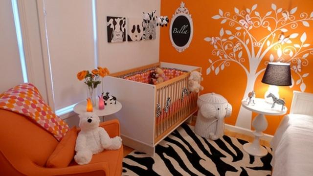 Chambre bébé fille orange et gris - Famille et bébé