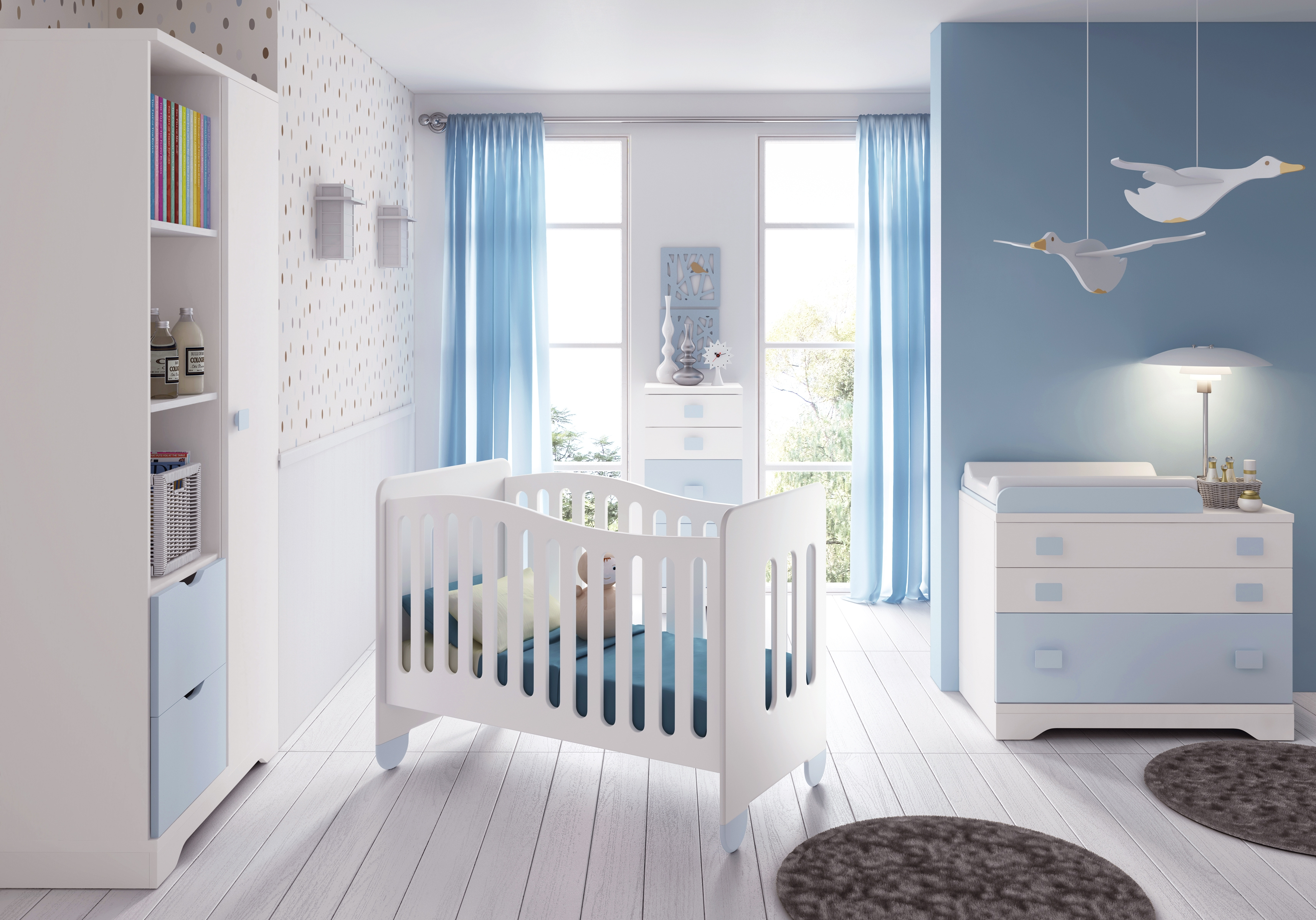 Beautiful Chambre Bebe Gris Bleu Blanc Contemporary Design Trends
