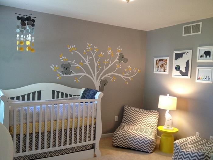 Deco chambre bebe gris et jaune - Famille et bébé