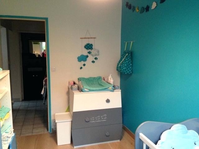 Chambre bebe gris et bleu canard - Famille et bébé