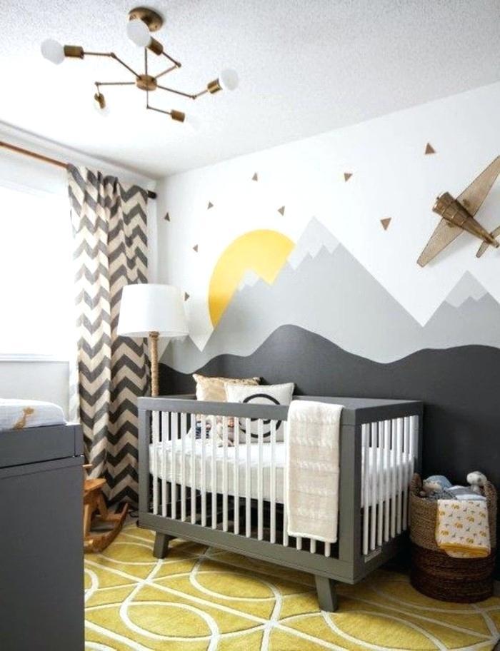 Chambre bebe jaune blanc gris - Famille et bébé