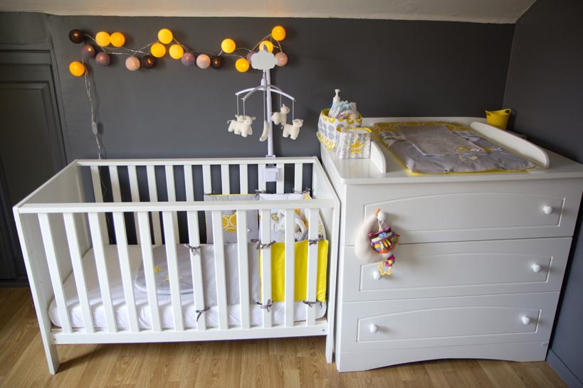 Deco chambre bebe gris bleu jaune - Famille et bébé