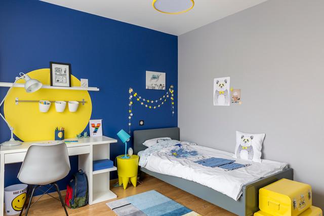 Chambre bébé bleu et jaune