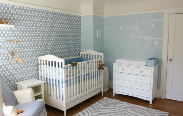chambre bb bleu et gris