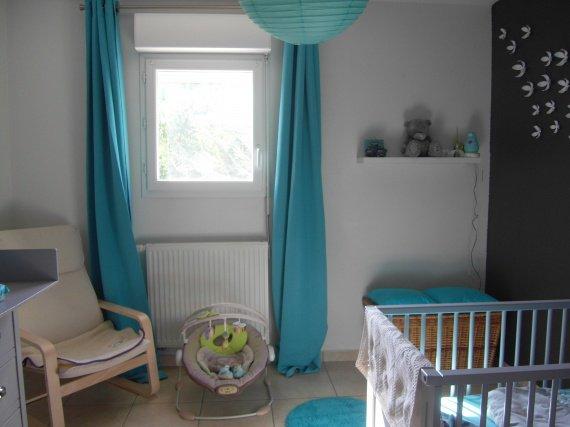 Chambre bebe bleu turquoise gris - Famille et bébé