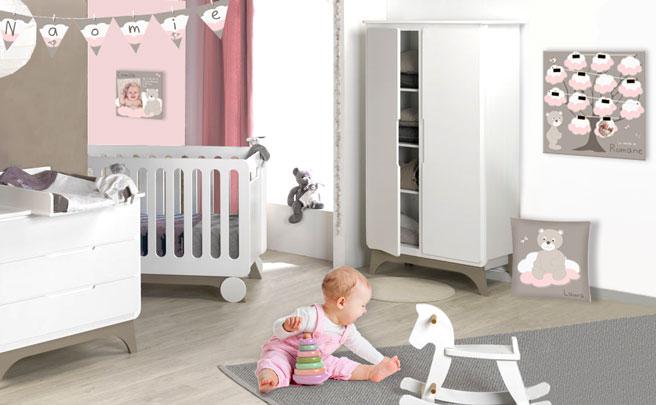 Deco chambre bebe rose et taupe famille et b b - Deco chambre rose ...