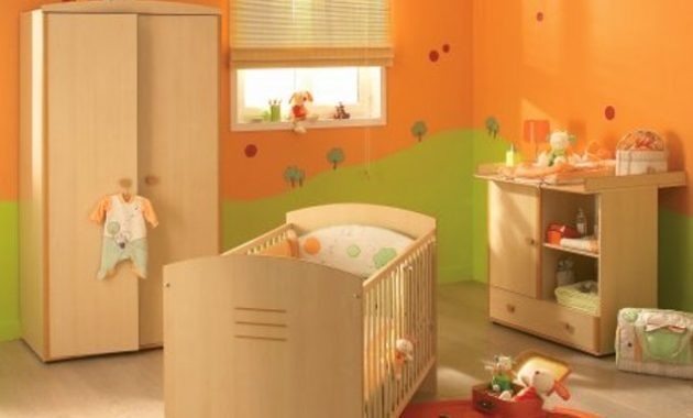 Grand Deco Chambre Bebe Vert Orange