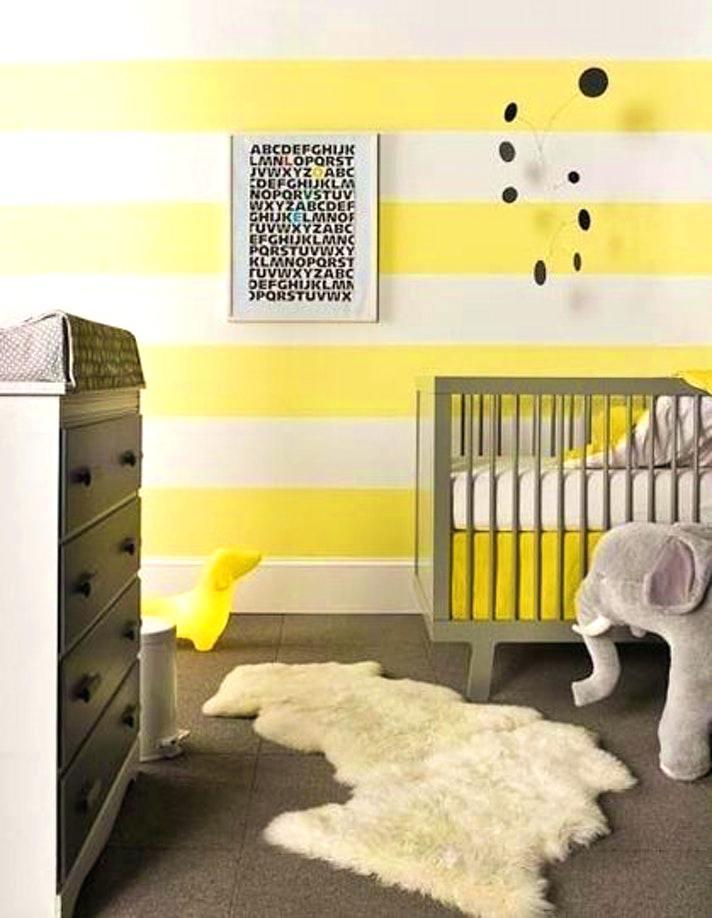 Chambre bebe gris blanc jaune - Famille et bébé