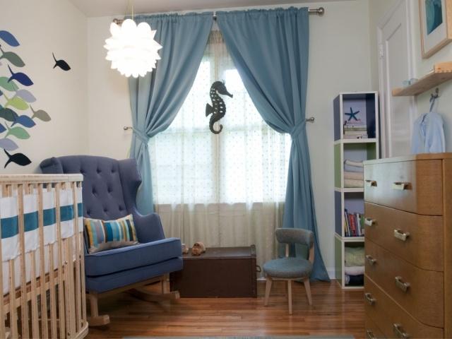 Rideau chambre bébé bleu