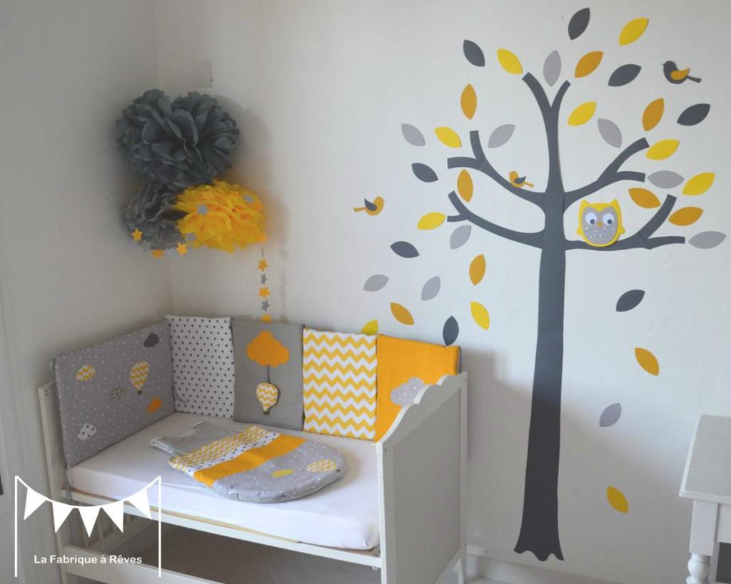 Chambre bebe jaune et blanc - Famille et bébé