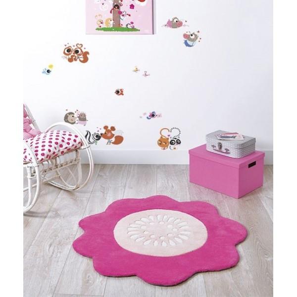 Tapis chambre bébé fille gris et rose - Famille et bébé