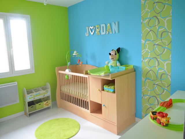 Deco chambre bebe jaune et vert - Famille et bébé