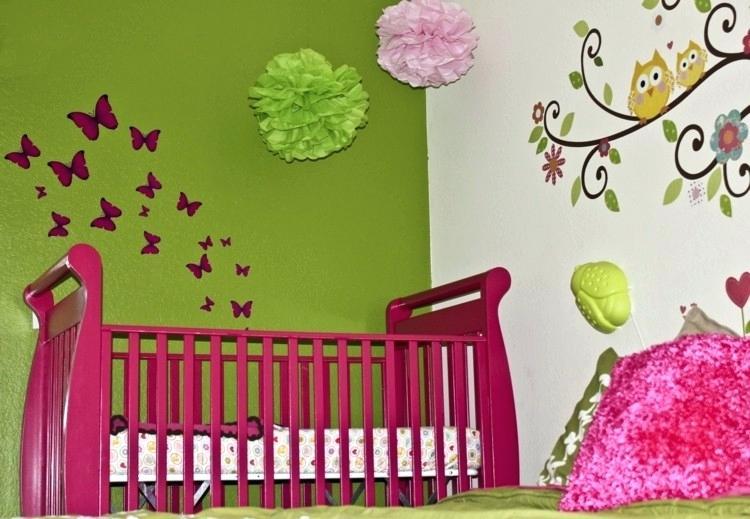 Chambre bébé vert et rose - Famille et bébé