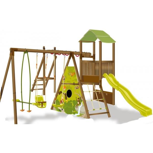 Chambre Bébé Cora : Balancoire bois cabane famille et bébé